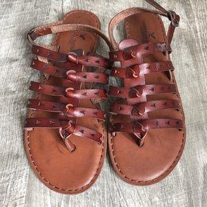 American Eagle Reddish Brown Strappy Sandals, 8